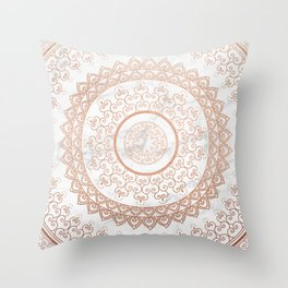 Mandala - rose gold and white marble Throw Pillow