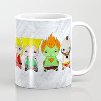 street fighter Mugs featuring A Boy - Street fighter by Christophe Chiozzi