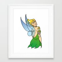 tinker bell Framed Art Prints featuring Tinker Bell by NOBODY's Art