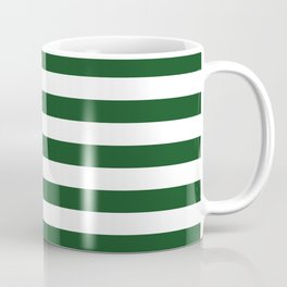Large Forest Green and White Rustic Horizontal Beach Stripes Coffee Mug