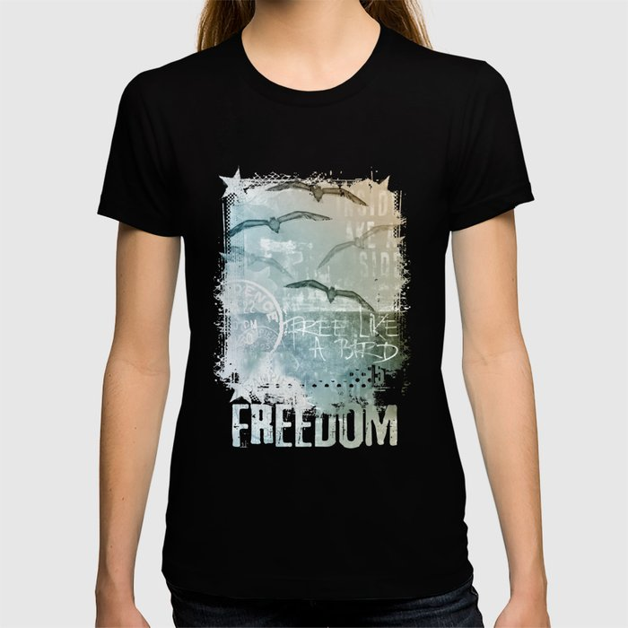 Free Like A Bird Seagull Mixed Media Art T-shirt