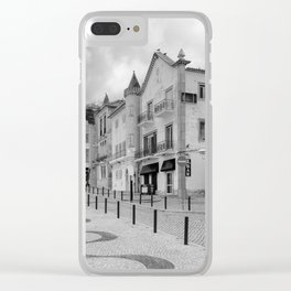 Near the Beach in Nazare BW Clear iPhone Case