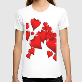 MODERN ART RED VALENTINES HEART  DESIGN T-shirt