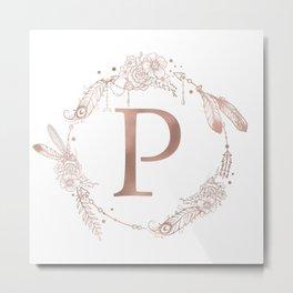 Letter P Rose Gold Pink Initial Monogram Metal Print