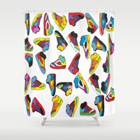 sneakers Shower Curtains featuring sneakers a gogo by davidroyston