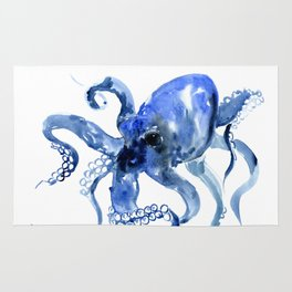 Navy Blue Octopus Artwork Rug