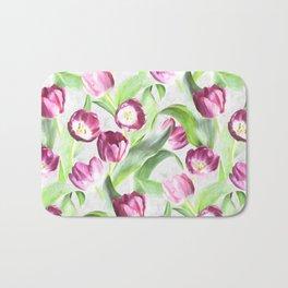Bright Tulips on Soft Grey Bath Mat
