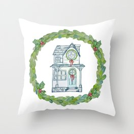 Winter wishes house and boxwood holiday wreath Throw Pillow