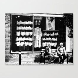 Two old men and lingerie Canvas Print