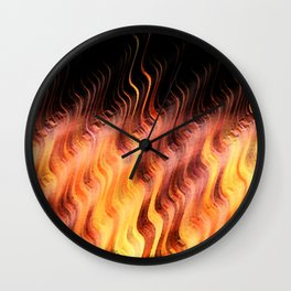 Autumn Flames Leaping Fire Wall Clock