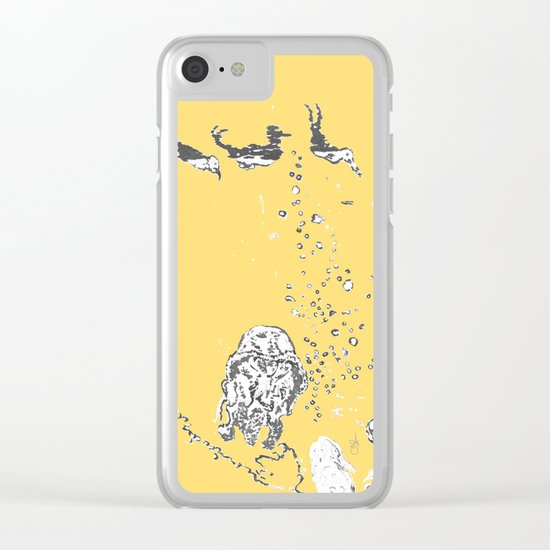Two Tailed Duck and Jellyfish Pale Yellow Mellow Clear iPhone Case