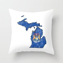 Michigan City Country State Nationalism Patriotic Flag Symbols Throw Pillow