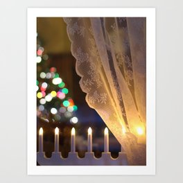 Christmas Light in Window Art Print