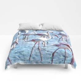 Stand Out In the Crowd Flamingo Watercolor Comforters