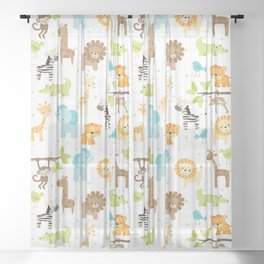 Jungle Animals Sheer Curtain