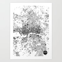 london map Art Prints featuring LONDON MAP by Maps Factory