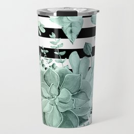 Succulents in the Garden Teal Blue Green Gradient with Black Stripes Travel Mug
