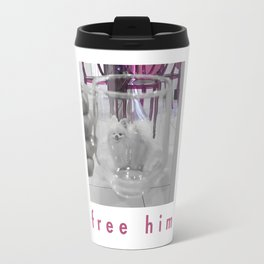 White Dog in Glass Prison Travel Mug