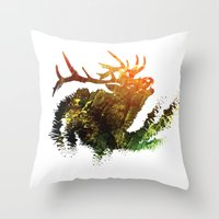 elk Throw Pillows featuring Elk by Justin Kedl