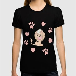 Cute Lion Cub with Paw Prints and Hearts T-shirt