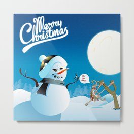 Merry Christmas from the North Pole - Angry Snowman and Santa's Reindeer Metal Print