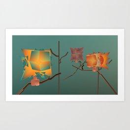 Origami Forest Birds  Art Print
