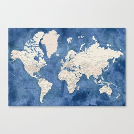 Light brown and blue watercolor detailed world map Canvas Print