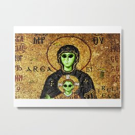 Byzantine Virgin Alien and Child Metal Print