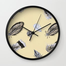Creamy feathers Wall Clock