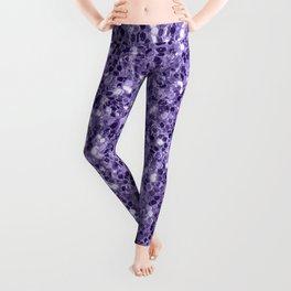Ultra violet purple glitter sparkles Leggings