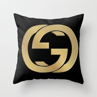 gucci Throw Pillows featuring Gucci 2 by Beauti Asylum