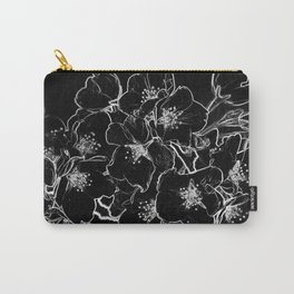 FLOWERS AT MIDNIGHT - IN BLACK & WHITE Carry-All Pouch