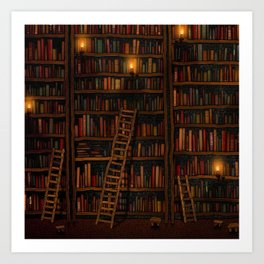 Night library Art Print