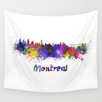montreal Wall Tapestries featuring Montreal skyline in watercolor by Paulrommer