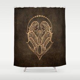 Vintage Rustic Gemini Zodiac Sign Shower Curtain