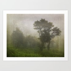 A foggy day in Dharamsala, India Art Print