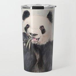 Panda bear eating watercolor Travel Mug