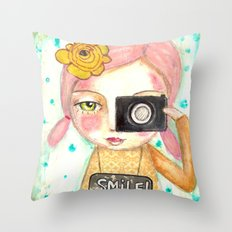 Smile ! girl with photo camera Throw Pillow