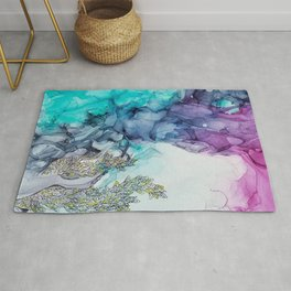 Remembering_ abstract painting , alcohol ink painting Rug