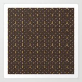 Louis Pitbull Luxury Dog Bling Pattern Art Print