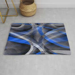 Eighties Themed Cool Blue Curved Line Pattern Rug