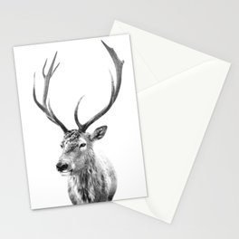 Deer Print, Black and white photo print Stationery Cards