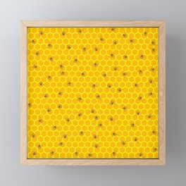 Mind Your Own Beeswax / Bright honeycomb and bee pattern Framed Mini Art Print