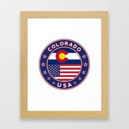 Colorado, Colorado t-shirt, Colorado sticker, circle, Colorado flag, white bg Framed Art Print