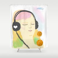 grimes Shower Curtains featuring grimes by Cristina Portolano