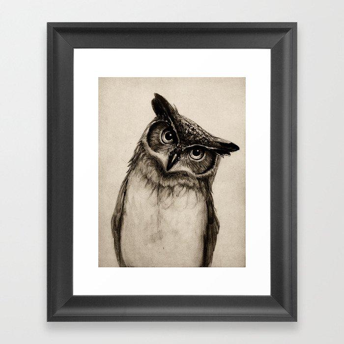 Owl Sketch Framed Art Print