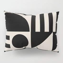 Mid Century Modern Geometric Abstract 936 Black and Linen White Pillow Sham