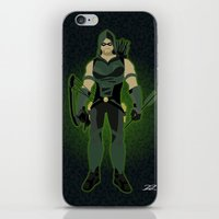 green arrow iPhone & iPod Skins featuring Green Arrow by The Vector Studio