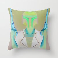 boba Throw Pillows featuring Boba by Yewot