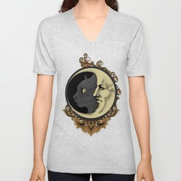 The cat & The Moon (Colored) Unisex V-Neck